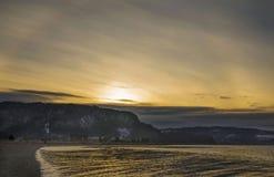 Puesta del sol con halo Imagen de archivo libre de regalías
