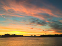 Puesta del sol con la visión de Alaska Fotos de archivo libres de regalías