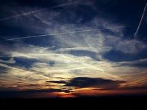 Puesta del sol con las nubes Imagen de archivo libre de regalías