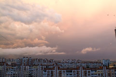 Puesta del sol con las nubes Foto de archivo libre de regalías