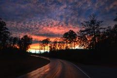 Puesta del sol con las nubes de tormenta Imagen de archivo