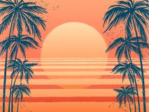 Puesta del sol con las palmeras, fondo rosado de moda Vector el ejemplo, diseñe el elemento para las tarjetas de la enhorabuena,  ilustración del vector