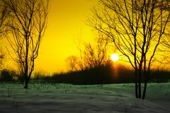 Puesta del sol con nieve Imagen de archivo libre de regalías