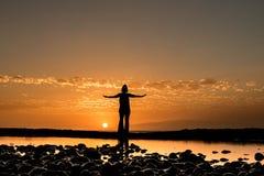 puesta del sol con Sibele Foto de archivo libre de regalías