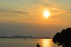 Puesta del sol croata del mar Fotografía de archivo