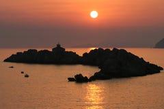 Puesta del sol Croatia Foto de archivo