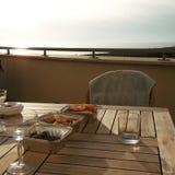 Puesta del sol del día de fiesta en Viareggion Italia Imagenes de archivo