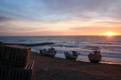 Puesta del sol danesa de la playa Foto de archivo libre de regalías