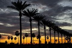 Puesta del sol de Anaheim Foto de archivo libre de regalías