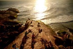 Puesta del sol de Arpoador en Rio de Janeiro imagen de archivo libre de regalías