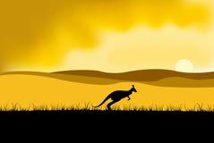 Puesta del sol de Australia ilustración del vector