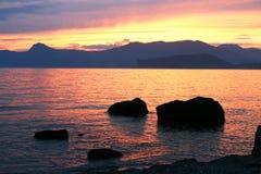Puesta del sol de Beatifull Imagen de archivo libre de regalías