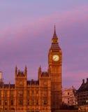 Puesta del sol de Big Ben imagen de archivo