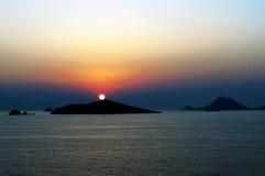 Puesta del sol de Bodrum Foto de archivo libre de regalías
