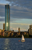 Puesta del sol de Boston Imágenes de archivo libres de regalías