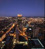 Puesta del sol de Boston Imagen de archivo libre de regalías