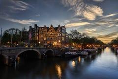Puesta del sol de Brouwersgracht Amsterdam Foto de archivo libre de regalías