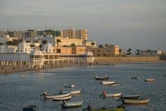 Puesta del sol de Cádiz Foto de archivo libre de regalías