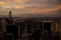 Puesta del sol de Central Park Nueva York de la visión aérea Foto de archivo