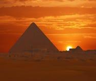 Puesta del sol de Cheops Fotos de archivo