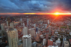 Puesta del sol de Chicago foto de archivo