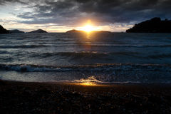 Puesta del sol de Coromandel Imagenes de archivo