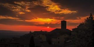 Puesta del sol de Cortona Foto de archivo libre de regalías