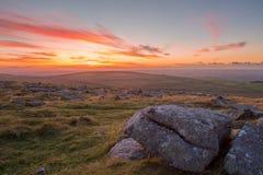 Puesta del sol de Dartmoor Imagen de archivo