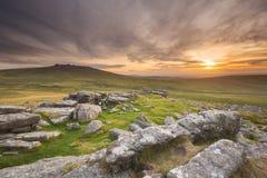 Puesta del sol de Dartmoor Imagenes de archivo