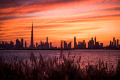 Puesta del sol de Dubai Imagen de archivo