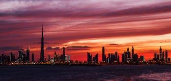 Puesta del sol de Dubai Imagenes de archivo