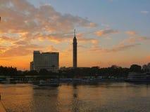 Puesta del sol de El Cairo en el Nilo Foto de archivo libre de regalías