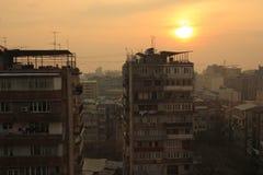 Puesta del sol de Ereván Imagen de archivo libre de regalías