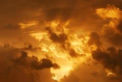 Puesta del sol de estallido Foto de archivo