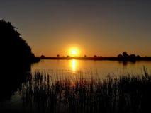 Puesta del sol de Firey Foto de archivo libre de regalías