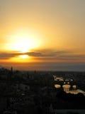 Puesta del sol de Florencia Foto de archivo libre de regalías