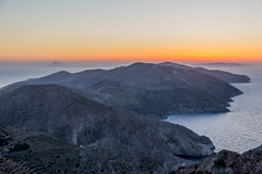 Puesta del sol de Folegandros Fotos de archivo libres de regalías