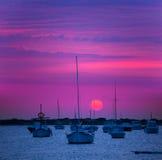 Puesta del sol de Formentera en el lago del DES Peix de Estany imagenes de archivo