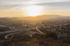 Puesta del sol de Glendale California foto de archivo