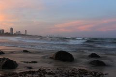 Puesta del sol de Gold Coast Imagenes de archivo