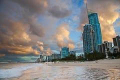 Puesta del sol de Gold Coast Fotografía de archivo libre de regalías