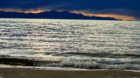 Puesta del sol de Great Salt Lake @ Fotografía de archivo libre de regalías