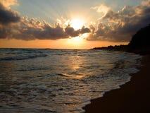 Puesta del sol de Grecia fotografía de archivo