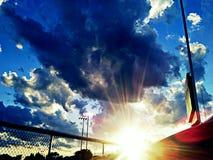 Puesta del sol de griterío Fotografía de archivo