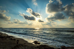 Puesta del sol de Haifa Israel foto de archivo