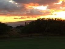 Puesta del sol de Hawaii Foto de archivo libre de regalías
