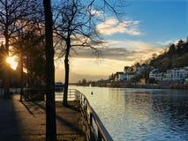 Puesta del sol de Heidelberg Imagen de archivo libre de regalías