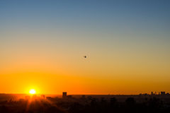 Puesta del sol de Helecopter Imágenes de archivo libres de regalías