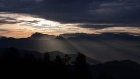 Puesta del sol de Himalaya Imagen de archivo