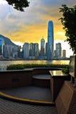 Puesta del sol de Hong-Kong Fotos de archivo libres de regalías